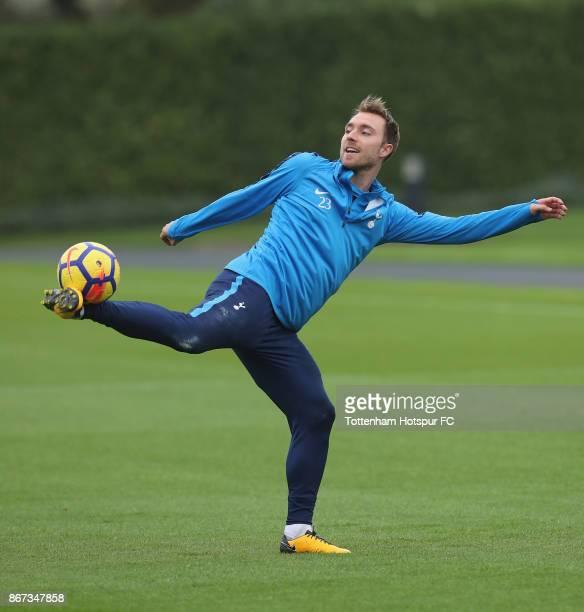 Christian Eriksen of Tottenham Hotspur in action during the Tottenham Hotspur Training Session atTottenham Hotspur Training centre on October 26 2017...