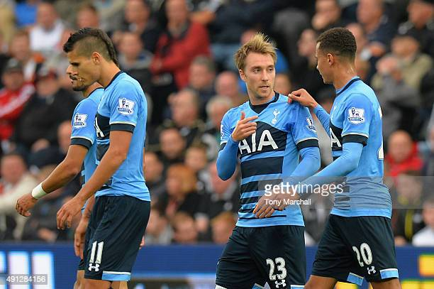 Christian Eriksen of Tottenham Hotspur is congratulated by Dele Alli of Tottenham Hotspur on scoring their first goal during the Barclays Premier...