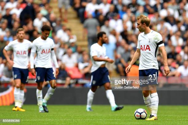 Christian Eriksen of Tottenham Hotspur is dejected during the Premier League match between Tottenham Hotspur and Chelsea at Wembley Stadium on August...