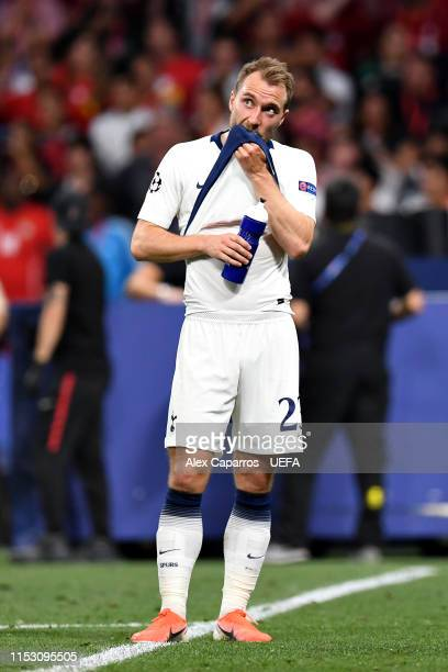 Christian Eriksen of Tottenham Hotspur looks dejected at fulltime after the UEFA Champions League Final between Tottenham Hotspur and Liverpool at...