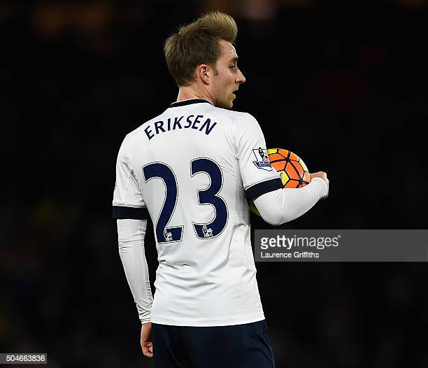 Christian Eriksen of Tottenham Hotspur looks on during the Barclays Premier League match between Watford and Tottenham Hotspur at Vicarage Road on...