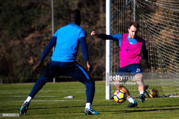 Christian Eriksen of Tottenham Hotspur plays the ball during a training session during day three of the Tottenham Hotspur midseason training camp at...