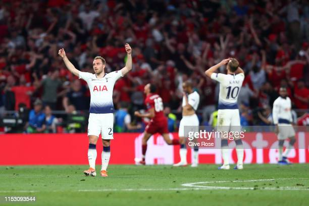 Christian Eriksen of Tottenham Hotspur reacts as Liverpool score their second goal during the UEFA Champions League Final between Tottenham Hotspur...