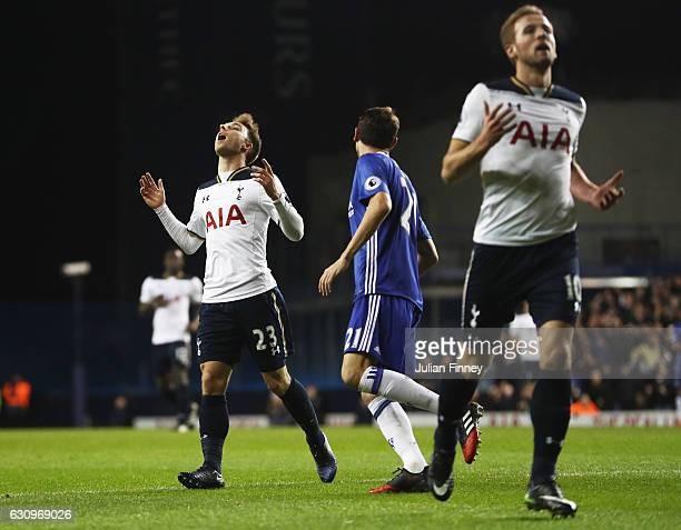 Christian Eriksen of Tottenham Hotspur reacts during the Premier League match between Tottenham Hotspur and Chelsea at White Hart Lane on January 4...