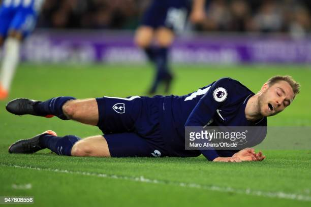 Christian Eriksen of Tottenham Hotspur reacts during the Premier League match between Brighton and Hove Albion and Tottenham Hotspur at Amex Stadium...
