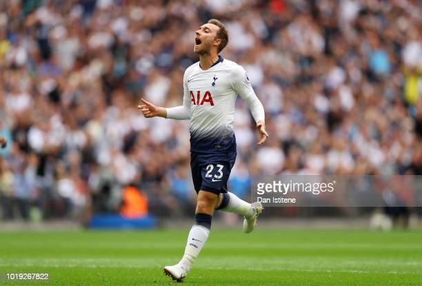Christian Eriksen of Tottenham Hotspur reacts following a missed chance during the Premier League match between Tottenham Hotspur and Fulham FC at...