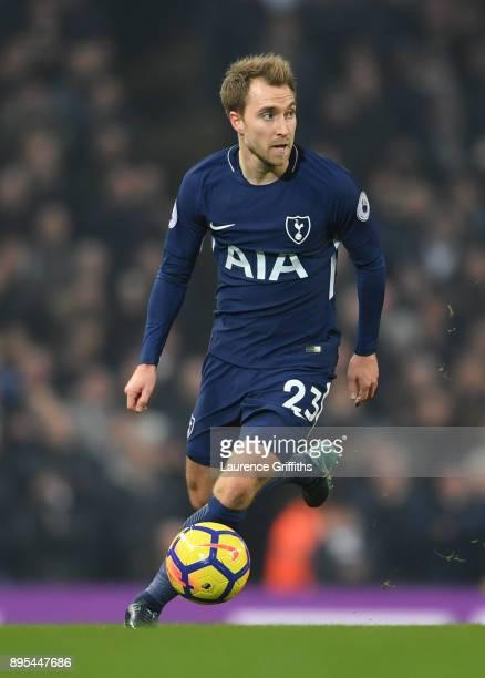 Christian Eriksen of Tottenham Hotspur runs with the ball during the Premier League match between Manchester City and Tottenham Hotspur at Etihad...
