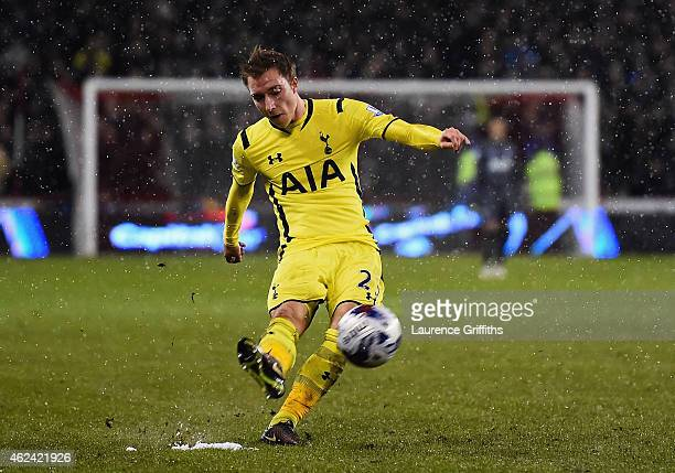 Christian Eriksen of Tottenham Hotspur scores from a free kick during the Capital One Cup SemiFinal Second Leg match between Sheffield United and...