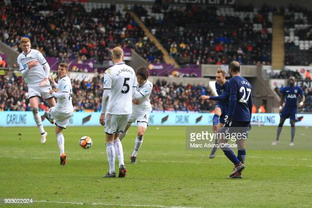 Christian Eriksen of Tottenham Hotspur scores his 2nd goal during the Emirates FA Cup Quarter Final match between Swansea City and Tottenham Hotspur...