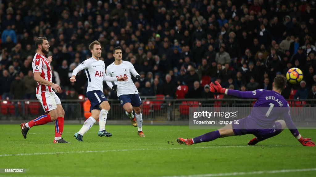 Christian Eriksen of Tottenham Hotspur scores his sides fifth goal during the Premier League match between Tottenham Hotspur and Stoke City at Wembley Stadium on December 9, 2017 in London, England.