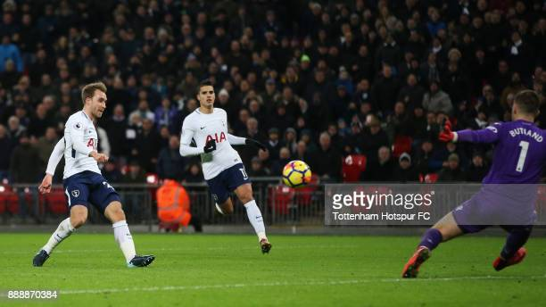 Christian Eriksen of Tottenham Hotspur scores his sides fifth goal during the Premier League match between Tottenham Hotspur and Stoke City at...
