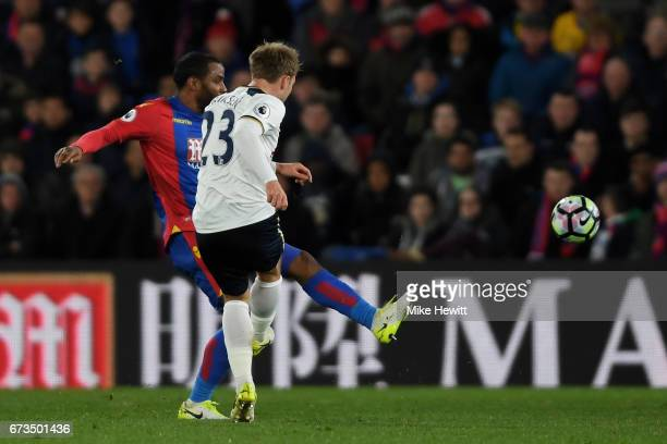 Christian Eriksen of Tottenham Hotspur scores his sides first goal during the Premier League match between Crystal Palace and Tottenham Hotspur at...