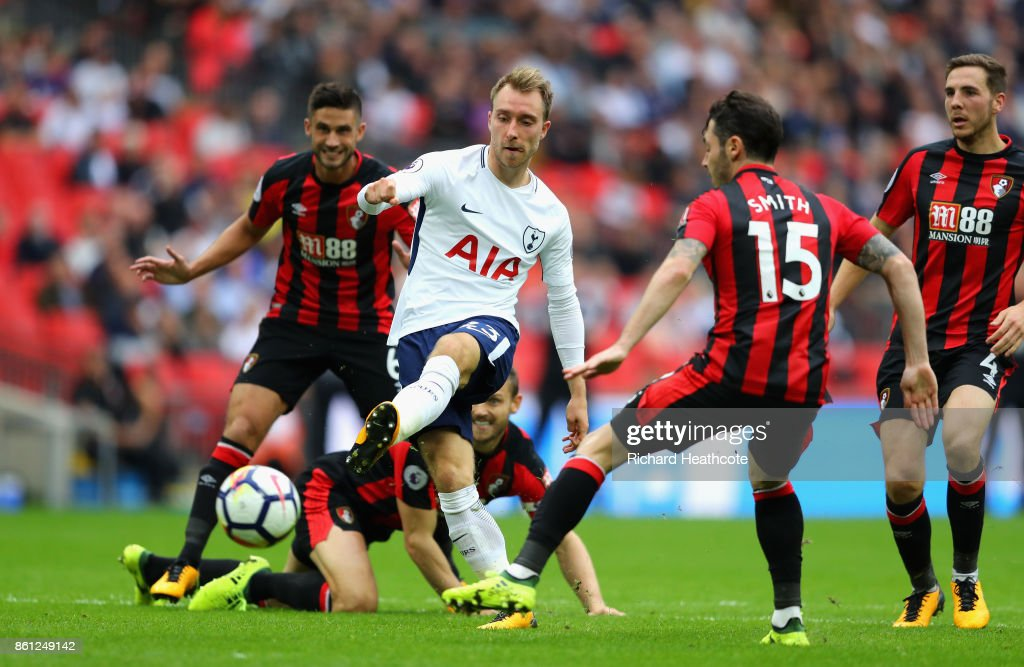 Christian Eriksen of Tottenham Hotspur scores his sides first goal during the Premier League match between Tottenham Hotspur and AFC Bournemouth at Wembley Stadium on October 14, 2017 in London, England.