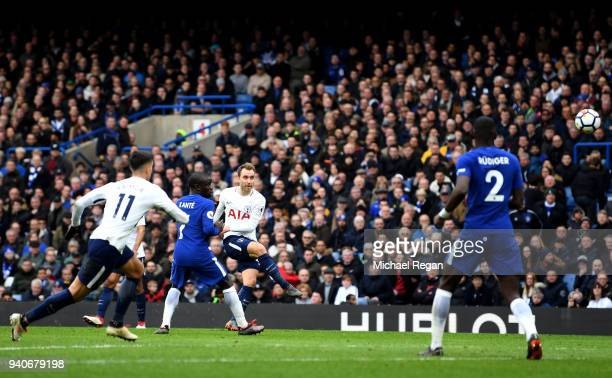 Christian Eriksen of Tottenham Hotspur scores his sides first goal during the Premier League match between Chelsea and Tottenham Hotspur at Stamford...