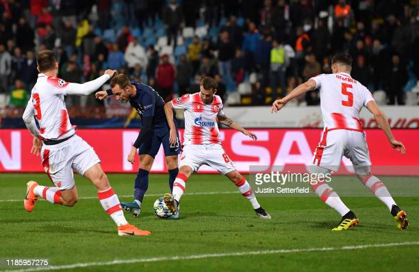 Christian Eriksen of Tottenham Hotspur scores his sides fourth goal during the UEFA Champions League group B match between Crvena Zvezda and...