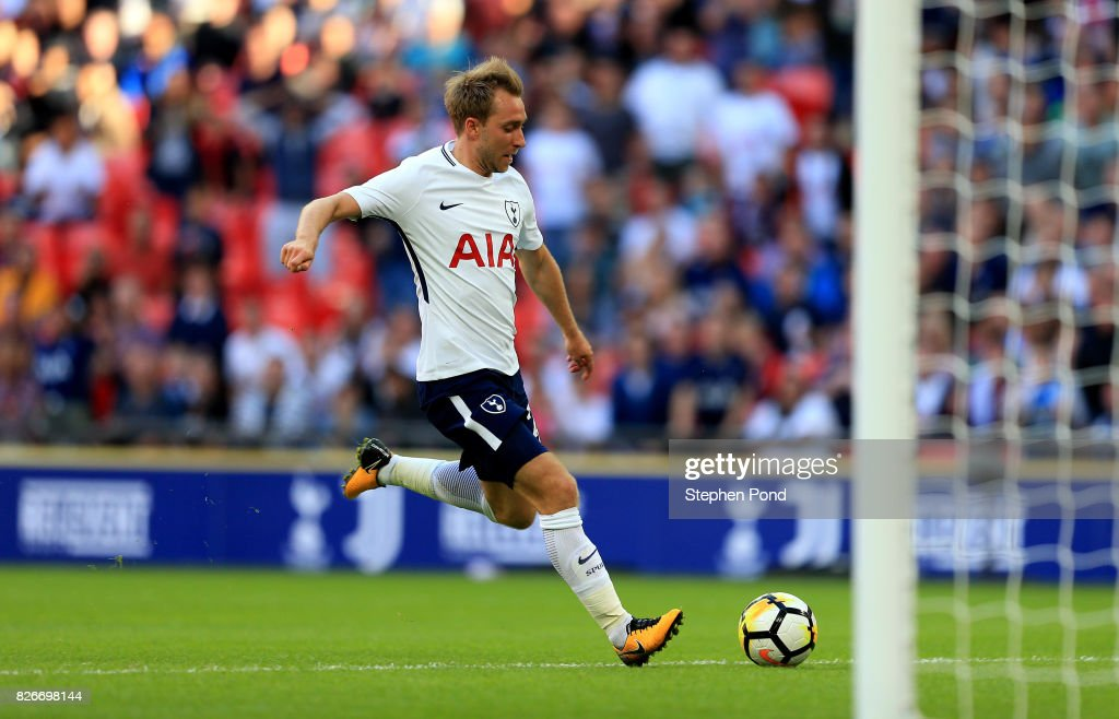Christian Eriksen of Tottenham Hotspur scores his sides second goal during the Pre-Season Friendly match between Tottenham Hotspur and Juventus on August 5, 2017 in London, England.