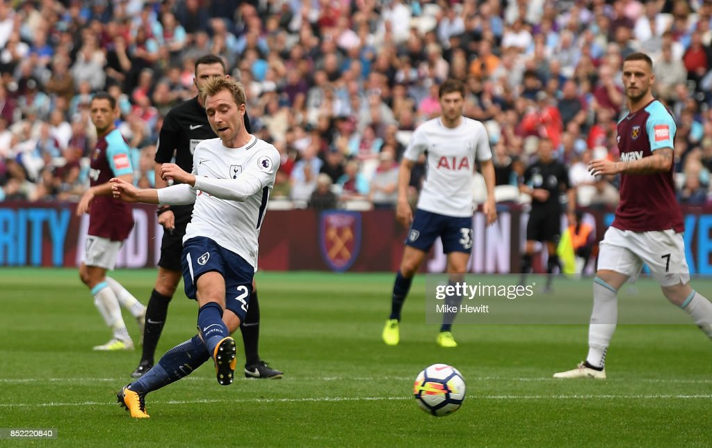 Christian Eriksen of Tottenham Hotspur scores his sides third goal during the Premier League match between West Ham United and Tottenham Hotspur at London Stadium on September 23, 2017 in London, England.