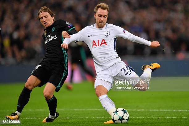 Christian Eriksen of Tottenham Hotspur scores his side's third goal during the UEFA Champions League group H match between Tottenham Hotspur and Real...
