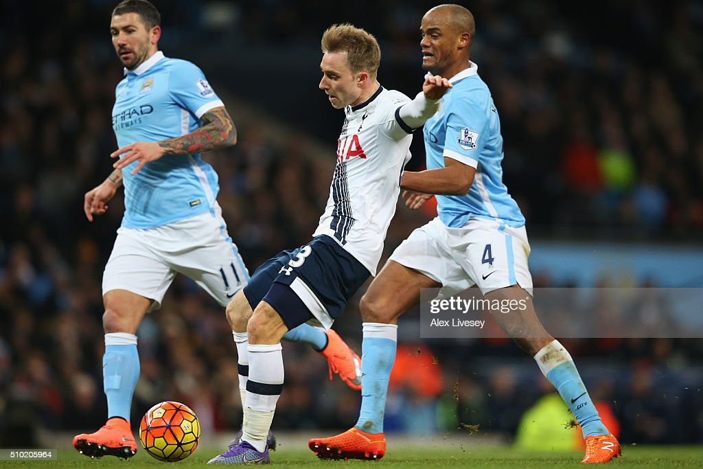 Christian Eriksen of Tottenham Hotspur scores his team's second goal during the Barclays Premier League match between Manchester City and Tottenham Hotspur at Etihad Stadium on February 14, 2016 in Manchester, England.