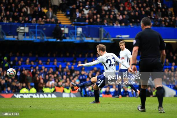 Christian Eriksen of Tottenham Hotspur scores their 1st goal during the Premier League match between Chelsea and Tottenham Hotspur at Stamford Bridge...