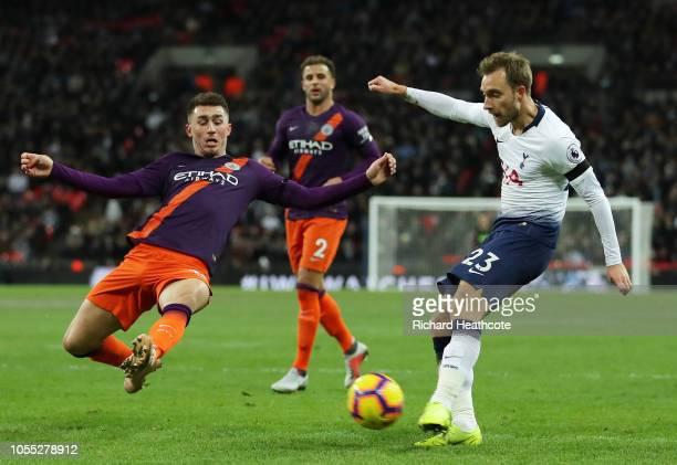 Christian Eriksen of Tottenham Hotspur shoots during the Premier League match between Tottenham Hotspur and Manchester City at Wembley Stadium on...