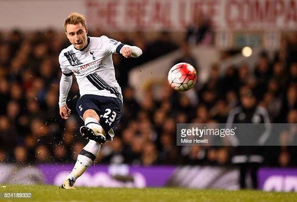 Christian Eriksen of Tottenham Hotspur shoots from a free kick during the Barclays Premier League match between Tottenham Hotspur and West Bromwich...