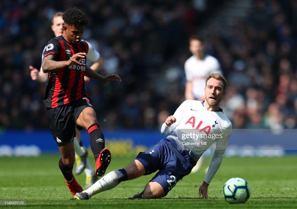22c796192 Christian Eriksen of Tottenham Hotspur tackles Juninho Bacuna of ...