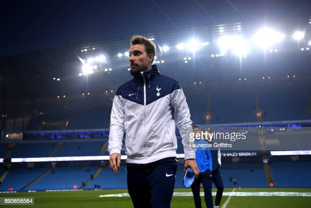Christian Eriksen of Tottenham Hotspur takes a look around the pitch prior to the Premier League match between Manchester City and Tottenham Hotspur...