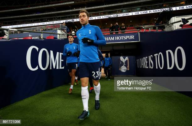 Christian Eriksen of Tottenham Hotspur walks out prior to the Premier League match between Tottenham Hotspur and Brighton and Hove Albion at Wembley...