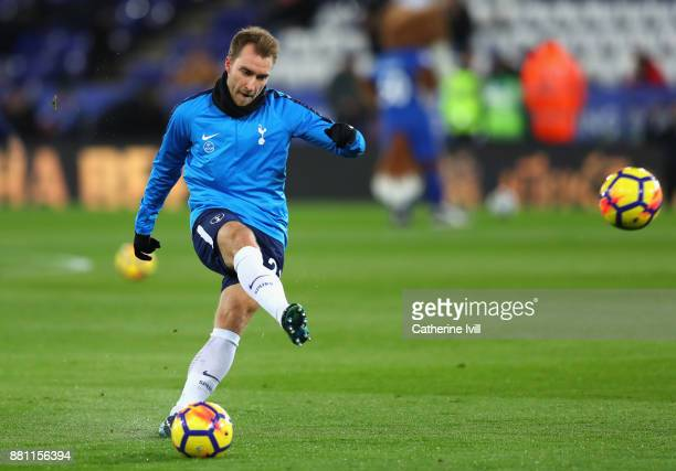 Christian Eriksen of Tottenham Hotspur warms up during the Premier League match between Leicester City and Tottenham Hotspur at The King Power...
