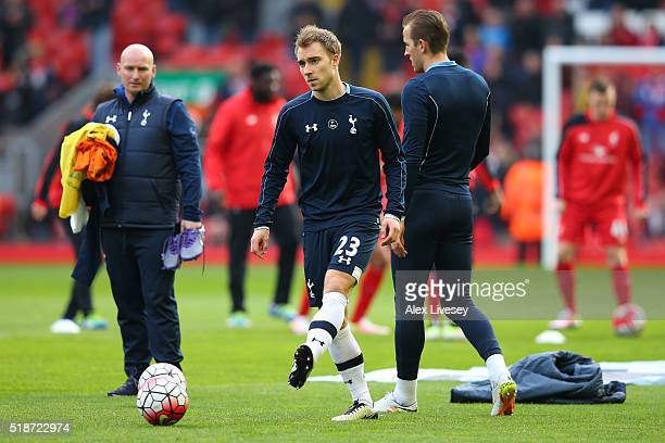 Christian Eriksen of Tottenham Hotspur warms up prior to the Barclays Premier League match between Liverpool and Tottenham Hotspur at Anfield on...