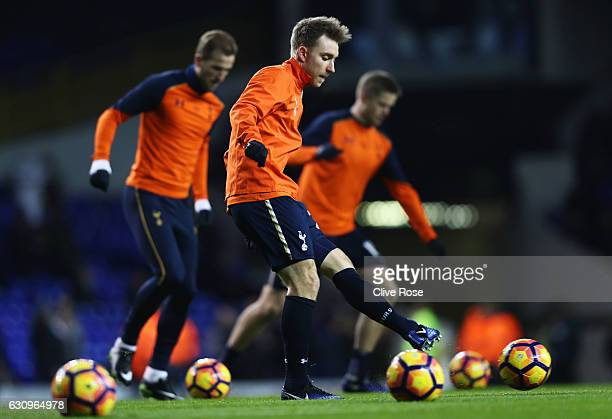 Christian Eriksen of Tottenham Hotspur warms up prior to the Premier League match between Tottenham Hotspur and Chelsea at White Hart Lane on January...