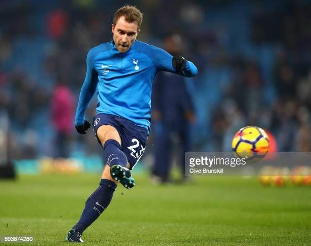 Christian Eriksen of Tottenham Hotspur warms up prior to the Premier League match between Manchester City and Tottenham Hotspur at Etihad Stadium on...