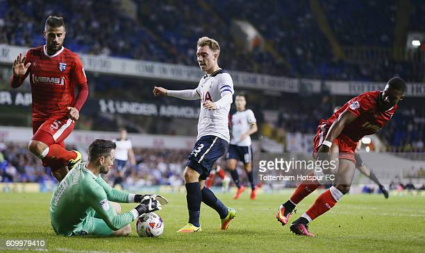 Christian Eriksen of Tottenham in action vs Gillingham during the EFL Cup Third Round match between Tottenham Hotspur and Gillingham at White Hart...