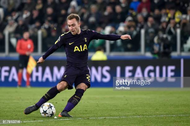 Christian Eriksen of Tottenham scores second goal during the UEFA Champions League Round of 16 match between Juventus and Tottenham Hotspur at the...