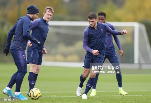 Christian Eriksen Oliver Skipp and Troy Parrott of Tottenham Hotspur during the Tottenham Hotspur training session at Tottenham Hotspur Training...