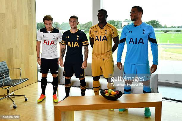 Christian Eriksen poses in the new home kit Kieran Trippier poses in the new away kit Victor Wanyama poses in the new third kit and Michel Vorm poses...