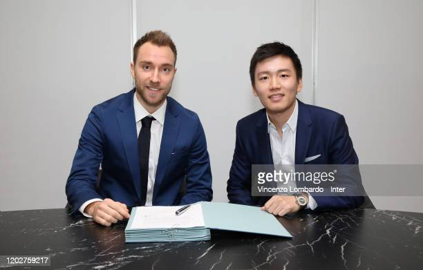 Christian Eriksen poses with FC Internazionale president Steven Zhang during his unveiling as new FC Internazionale signing on January 28 2020 in...