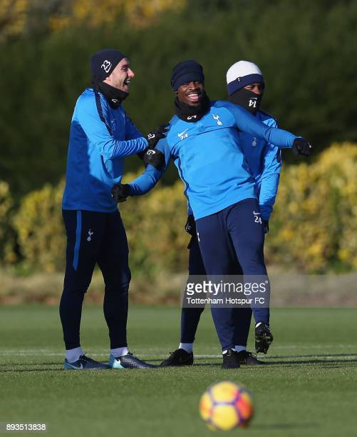 Christian Eriksen Serge Aurier and GeorgesKevin Nkoudou of Tottenham Hotspur during the Tottenham Hotspur training session at Tottenham Hotspur...