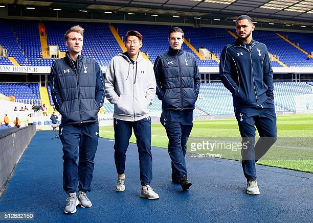 Christian Eriksen Son HeungMin and Kevin Wimmer of Tottenham Hotspur arrive for the Barclays Premier League match between Tottenham Hotspur and...