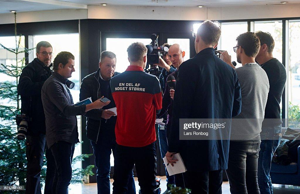 Christian Eriksen speaks to the media prior to the Denmark training session at Gelsingor Stadion on November 8, 2016 in Helsingor, Denmark.