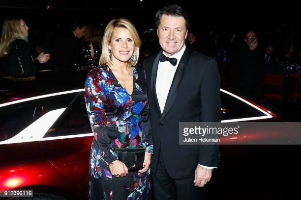 Christian Estrosi and his wife Laura Tenoudji attend the 33nd International Automobile Festival At Hotel des Invalides on January 30 2018 in Paris...