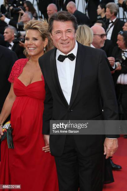 Christian Estrosi and Laura Tenoudji attend the Ismael's Ghosts screening and Opening Gala during the 70th annual Cannes Film Festival at Palais des...