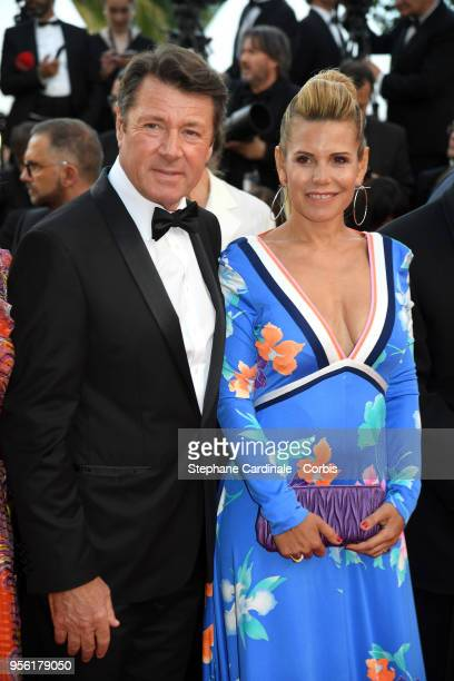 Christian Estrosi and Laura Tenoudji attend the screening of Everybody Knows and the opening gala during the 71st annual Cannes Film Festival at...