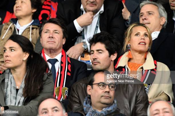 Christian Estrosi french politician and his wife during the French Ligue 1 match between Nice and Paris Saint Germain at Allianz Riviera on April 30...