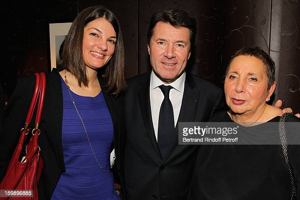 Christian Estrosi his daughter Laetitia and Nicole Rubi attend 'La Petite Maison De Nicole' Inauguration Cocktail at Hotel Fouquet's Barriere on...