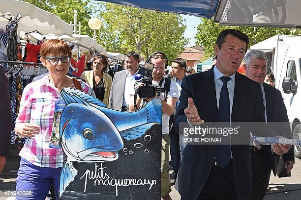 Christian Estrosi mayor of Nice and French rightwing UMP opposition party candidate for the upcoming regional elections in the ProvenceAlpesCote...