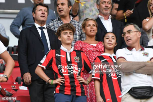 Christian Estrosi mayor of Nice and his wife Laura during the UEFA Champions League Qualifying match between Nice and Ajax Amsterdam at Allianz...