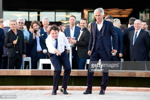 Christian Estrosi mayor of Nice and Jean Pierre Rivere president of Nice during this inauguration of the new training center of this OGC Nice on...
