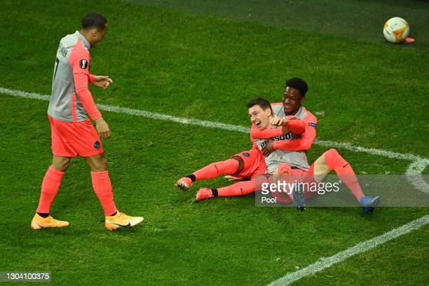 Christian Fassnacht of Young Boys celebrates with Felix Mambimbi of Young Boys after scoring their team's second goal during the UEFA Europa League...